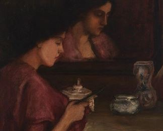 """227 Late 19th Century American School Woman seated at a dressing table mirror Oil on canvas Unsigned 38"""" H x 28"""" W Estimate: $1,000 - $2,000"""