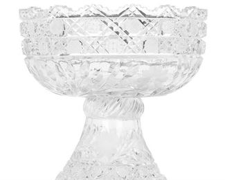 """252 An American Brilliant Cut Glass Punch Bowl With Stand Late 19th/early 20th Century The Brilliant cut glass punch bowl and stand with fine crosshatching, diamond cuts, hobstars, cut floral motifs and sawtooth scalloped edges, 2 pieces 10"""" H x 10"""" Dia. Estimate: $600 - $800"""