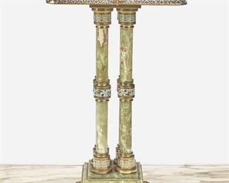 """270 A Green Onyx And Champlevé Lamp Table Late 19th/early 20th Century The gilt-bronze mounted green onyx lamp table with champleve enamel border and column accents over four columns and raised on a pedestal base with four paw feet 31"""" H x 18.5"""" W x 18.5"""" D Estimate: $1,000 - $2,000"""