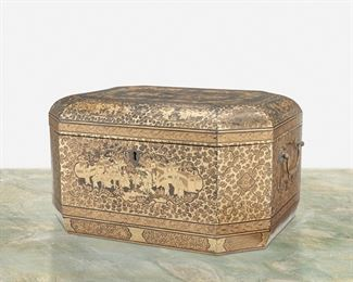 """281 A Chinese Export Lacquered Tea Chest 19th Century The octagonal lacquered wood tea chest with gilt figural scenes and ornamentation, two drop bail handles, lockplate, and fitted with double brass canisters to the interior 7.75"""" H x 13.5"""" W x 10.5"""" D Estimate: $600 - $900"""
