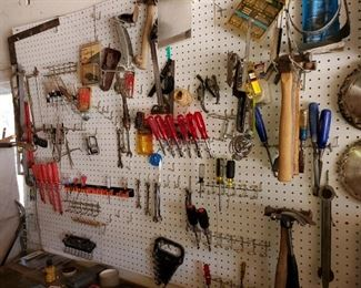 Tons of hand tools, screw drivers, wrenches , various hammers