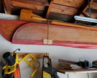Hand made folding wood and canvas Canoe with oars