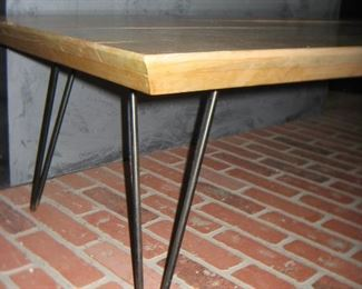 Washed Wood Coffee Table w/ Paperclip Base