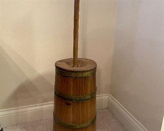 Vintage solid wood butter churn
