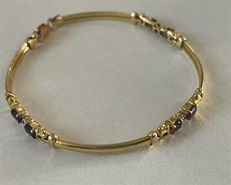 solid gold jeweled bracelet