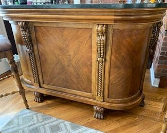 """104. Carved Stone Top Bar (68"""" x 20"""" x 43"""") (seat ht 30"""")"""