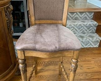 """116. Set of 3 Carved Bar Chairs w/ Leather Seat (20"""" x 18"""" x 47"""") seat ht 30"""""""