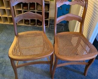 #13(2) Carved Rose Back Chair w/Cane Seats $60.00