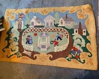#18Rug w/family in a courtyard   30x48 - Hand-Hooked 100%Wool $30.00