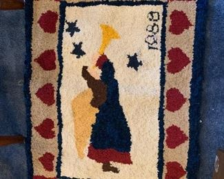 #19Christmas Hand-knotted Rug (has glue on back) of an Angel  34x24 $20.00
