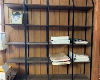 """#28Wrought Iron 4 brackets w/5 plywood Shelves   56""""W x 68""""T $100.00"""