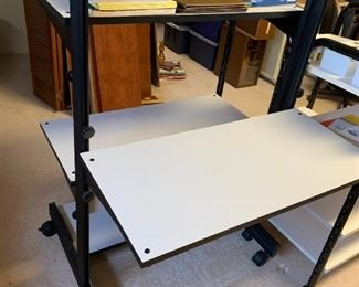 #37two-sided Desk w/bookshelf on wheels 32x33x44  Brand Soho $45.00
