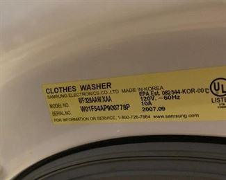 #40Samsung Washer Front Loader on pedistal Model WF32AAW $300.00