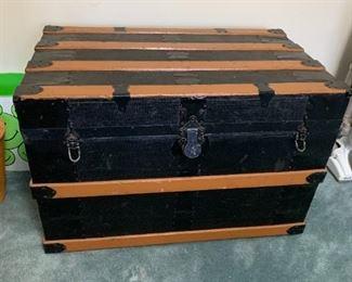 #45Old Wood Trunk w/tray   32x19x22 $40.00