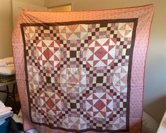 #55Rose/Brown Sampler Full Size quilt  hand-pieced machine quilted (flannel backed) $65.00