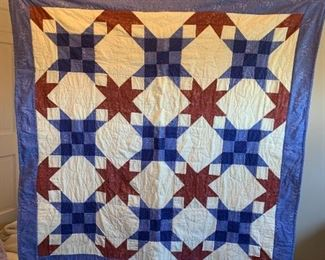 #56Blue/Rust 9 patch - Lap Quilt w/flannel on back $50.00