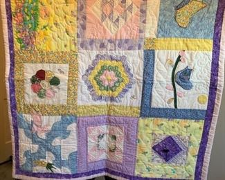 #58Baby Quilt Hand-quilted Sampler $45.00