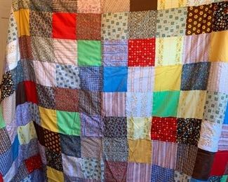 #61Scrappy Quilt king Size - Hand tied $60.00