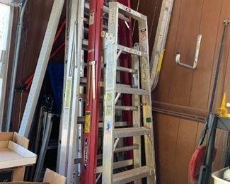 #86Werner 7' Aluminum Ladder $20.00 sold #87Werner Pink Fiberglass Ladder 8' $35.00  #88Aluminum 10' Ladder - Sears $20.00  #89All-American Aluminum Extension Ladder 16' $40.00  #90All-American 20' Extension Ladder Aluminum (highest standing 13') $50.00  #91All-American 21' Aluminum Extension Ladder $50.00  #92Folding Ladder - Westway 2x12' $100.00