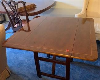 #104Baker Inlaid Drop Side Coffee Table/End Table 20-36x36x27 $275.00