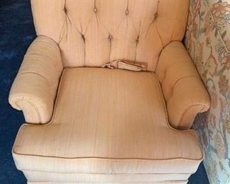 #103(2) Butonback Peach  Side Chairs on Wheels   $75 Each