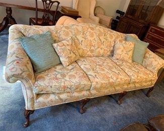 #102Yellow Floral Camel  3 cushion 7' Sofa  $125.00