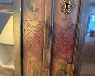 #109Carved & Hand-Painted Asian Trouvailles Furniture w/2 doors & 2 Glass Doors w/3 glass Shelves 39x22.5x32-8' Tall w/pull-out shelves $800.00