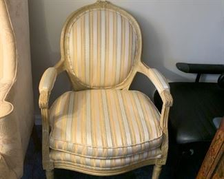 #110Yellow Bubble-Back Side Chair w/Cream/Gold Strip - empire style $75.00