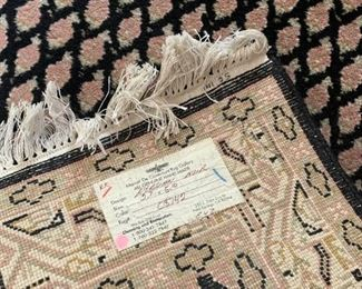 """#114Black/Cream/Rose Hand-knotted Persian Runner Rug 2'7"""" x 5'10""""  $75.00"""