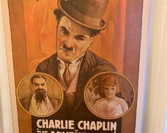 #119Charlie Chaplin in The Adventurer 1917 Litho $25.00