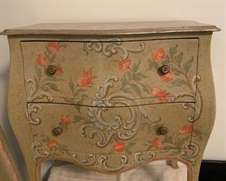 #123(2) Baker Painted End Tables w/Orange Flowers /2 drawers   22x14.5x25  $100 each $200.00  SOLD 1 AND STILL HAVE THE OTHER FOR $100