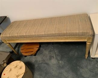 """#126Bedroom Bench  48"""" Long x 20"""" Tall w/Painted wood legs $75.00"""