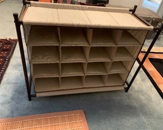 #134Canvas Shoe Rack on Stand  w/16 Cubbies $20.00