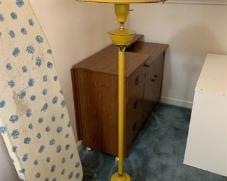 """#141Mustard Colored Vintage Floor Lamp 55"""" - Globe as is $75.00"""