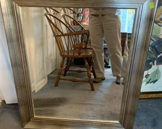 #156Silver Framed Beveled Mirror 31x37 $75.00