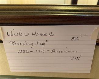 "#157Winslow Homer ""Breezing it up"" 1836-1910 America $50.00"
