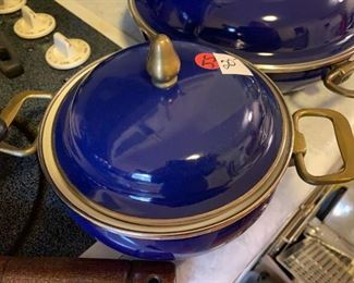 "#161Newcor Sculpture gourmet Cookware Ceramic coated  12""Skillet w/lid $30.00  #162Newcor Sculpture Gourmet Cookware 7"" Blue Pot w/lid $20.00"