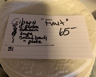 """#166Gibson Dishes """"Fruit"""" 31 pieces $65.00"""
