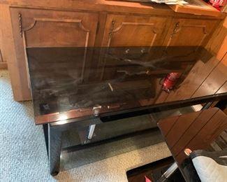 #168Black Glass TV Stand 52x20x20 $30.00
