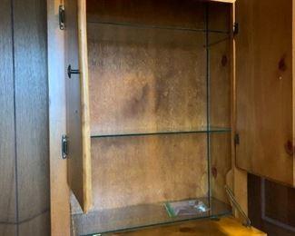 "#179Custom Made Pine Bar w/flip down front, 1 drawer and 2 doors w/shelves 30x11x80"" $75.00"