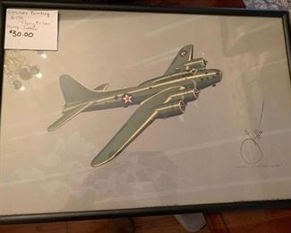 """#186Aircraft Painting B-17E """"Flying Fortress"""" Harry Jaffee $30.00"""