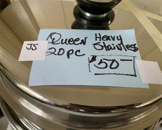 #188Queen Cookware Heavy Stainless 20 pc $50.00