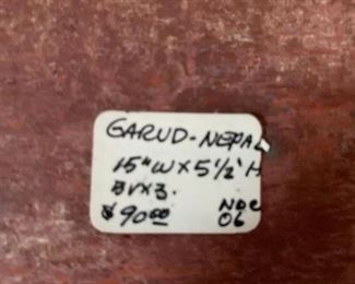 "#189Garud-Nepa 15x5.5"" Wood Carved Wall Hanging - Dragon $40.00"