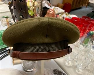 #203Army Green Dress Hat - as is (moth) $15.00