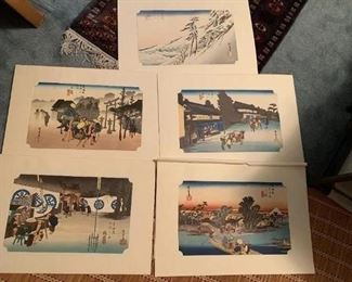 #205Ando Hiroshipe Repo Prints (5) - Asian Fishing Village $60.00