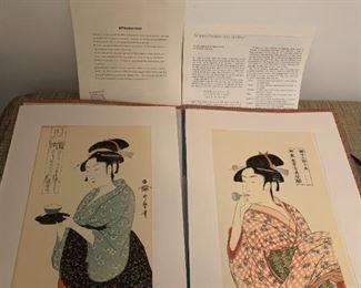 #206Kitagawa Utamaro Japenses Prints (2) - Woocut Geishas $40.00