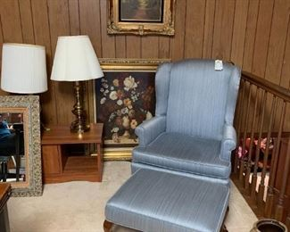 #30(2) Pembrook Blue Wingback Chairs w/Ottomans   $80 each$160