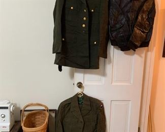 #198Khaki Dress Jacket and Pants $30.00  #199Dark Green Wool Dress Jacket only $15.00  #200US Army Casual Jacket $15.00  #201US Army Wool Short Jacket $10.00  #202Khaki US Army Dress Hat $15.00  #203Army Green Dress Hat - as is (moth) $15.00  #2042 Casual US Army Hat - 10 Each $20.00