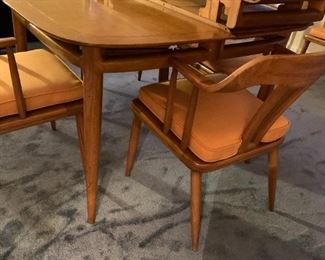 #143 Tomlinson of High point mid century dining table 2 2 leaves and 6 chairs 42-78x42x19 $1,500.00