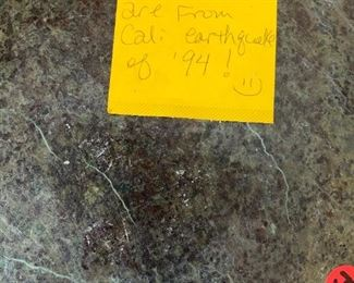 #214Marble stand in 3 pieces for easy moving but very heavy top cracked from California earth quake of 1994 $150.00